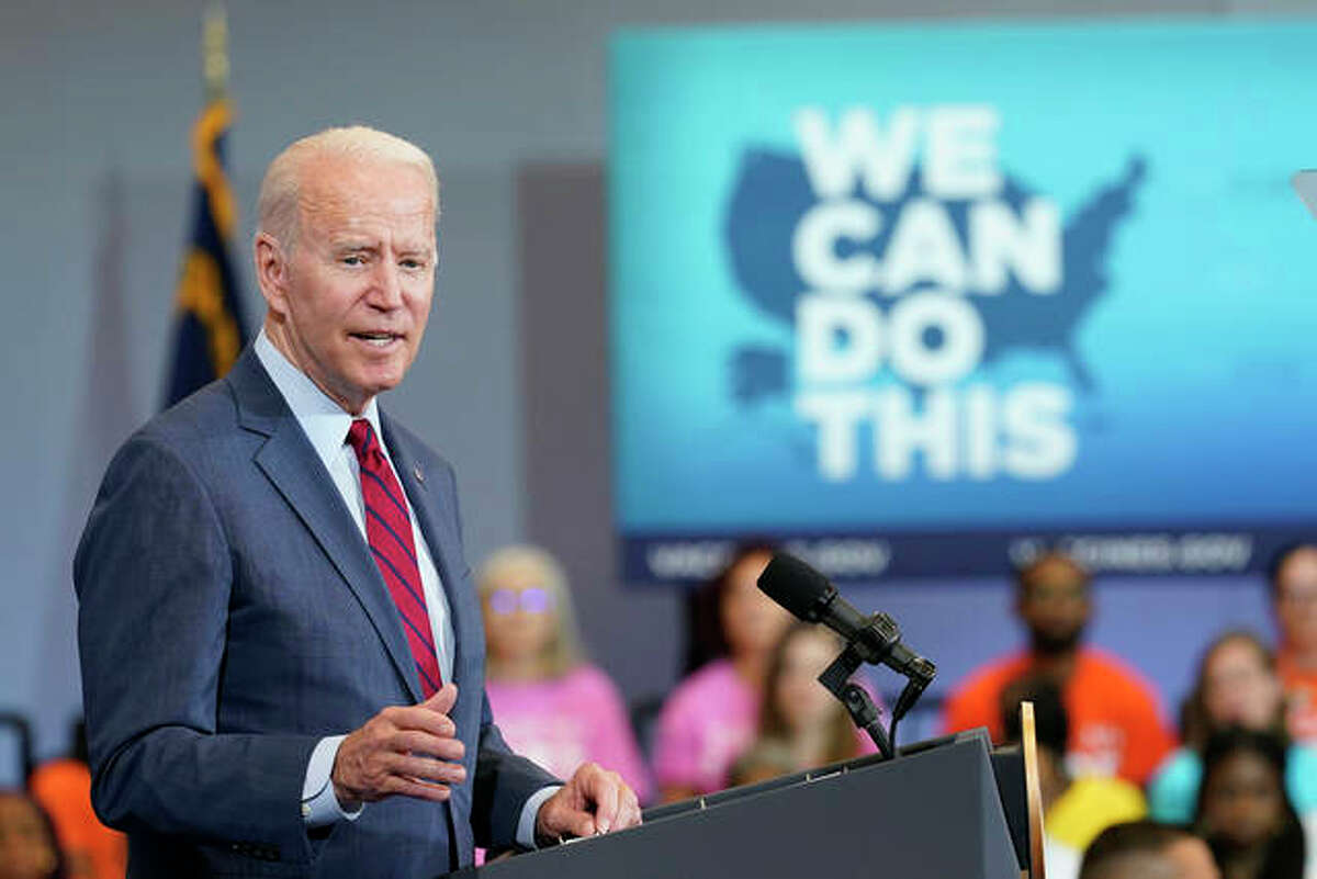 President Joe Biden speaks at the Green Road Community Center in Raleigh, N.C., Thursday. The White House acknowledged this week that Biden will fall shy of his 70% goal of at least one vaccination by July 4 and an associated aim of fully vaccinating 165 million adults in the same time frame.