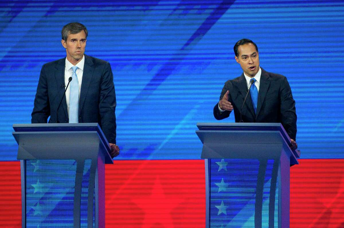 Democrats Beto O'Rourke and Julián Castro share the debate stage in 2019 when they were running for president. But now with the rights of Texans in peril, neither has yet jumped in to challenge Gov. Greg Abbott.