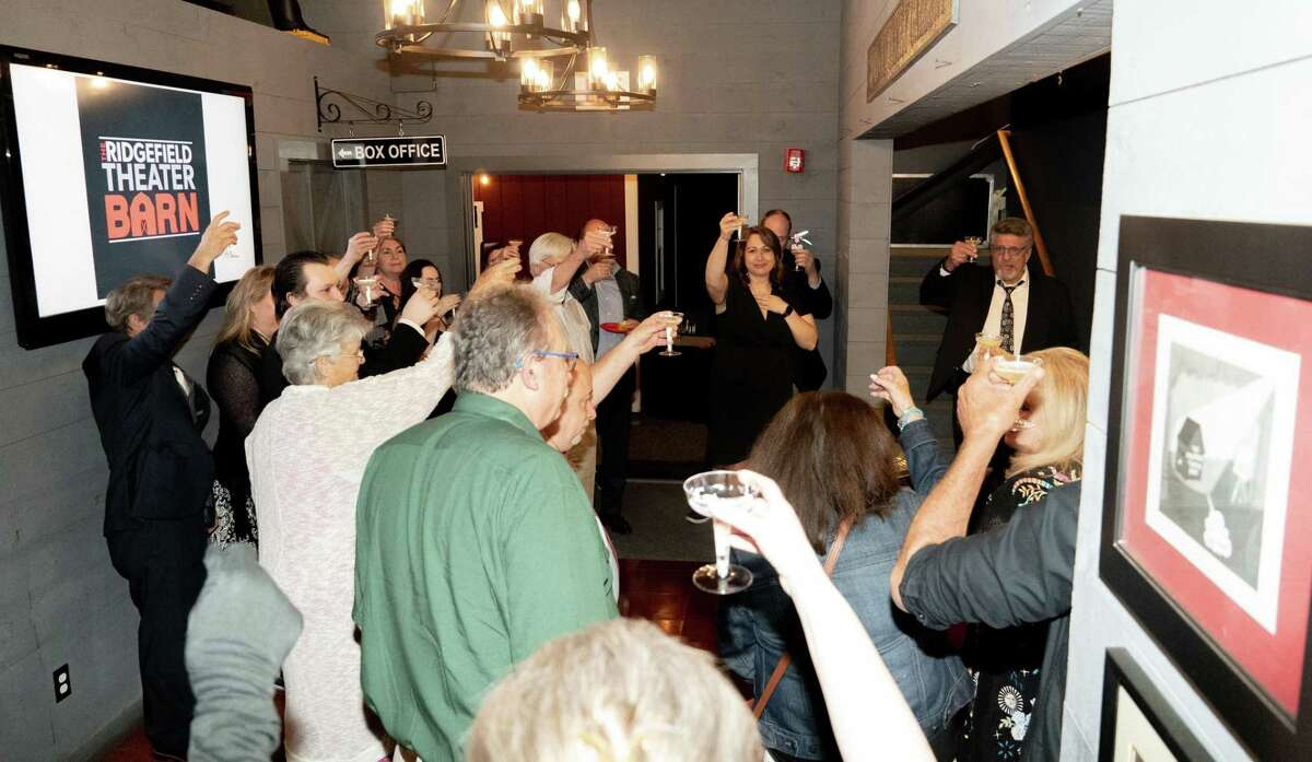 """On opening night of """"An Evening of One Acts"""" at The Ridgefield Theater Barn, patrons raised a glass in memory of late cast member Amy Oestreicher, to whom the production was dedicated."""
