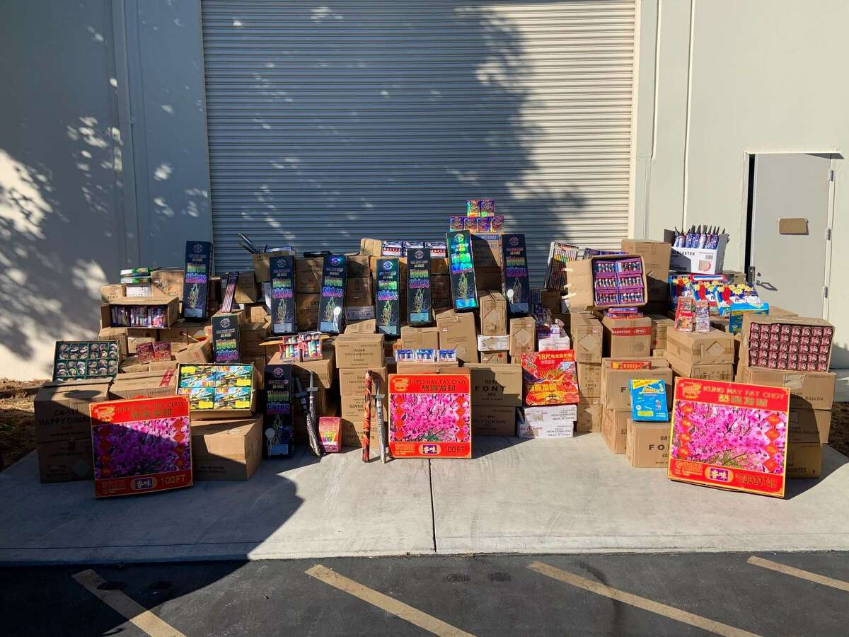 A photo showing a small portion of the 7 tons of illegal fireworks seized following an investigation that spanned the Bay Area. The San Mateo County Sheriff's Department also seized $1 million in cash and arrested a San Francisco man.