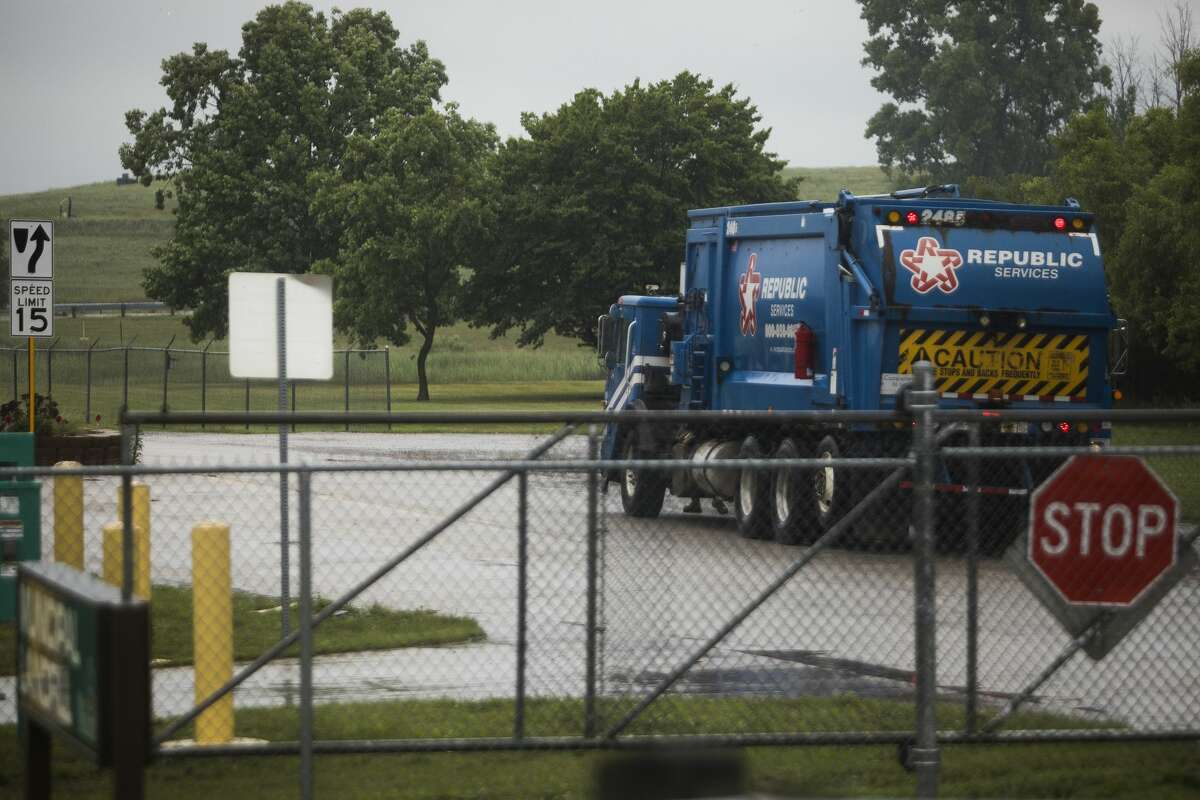 A Republic Services truck is parked at the Midland Municipal Landfill Friday, June 25, 2021 in Midland. (Katy Kildee/kkildee@mdn.net)