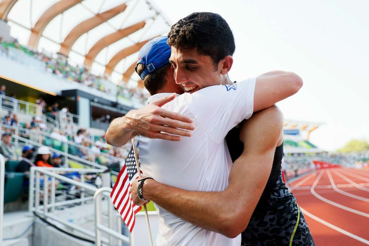 Bryce Hoppel celebrates after the Men's 800 Meters Final during day four of the 2020 U.S. Olympic Track & Field Team Trials at Hayward Field on June 21, 2021 in Eugene, Oregon. (Photo by Steph Chambers/Getty Images)