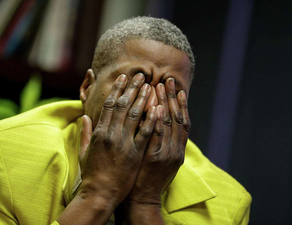 LaTonya Floyd after hearing the judge sentenced Derek Chauvin - the former Minneapolis Police officer who killed her brother George Floyd - to 22 and a half years in prison, while sitting inside Good Hope Missionary Baptist Church on Friday, June 25, 2021, in Third Ward, Houston.