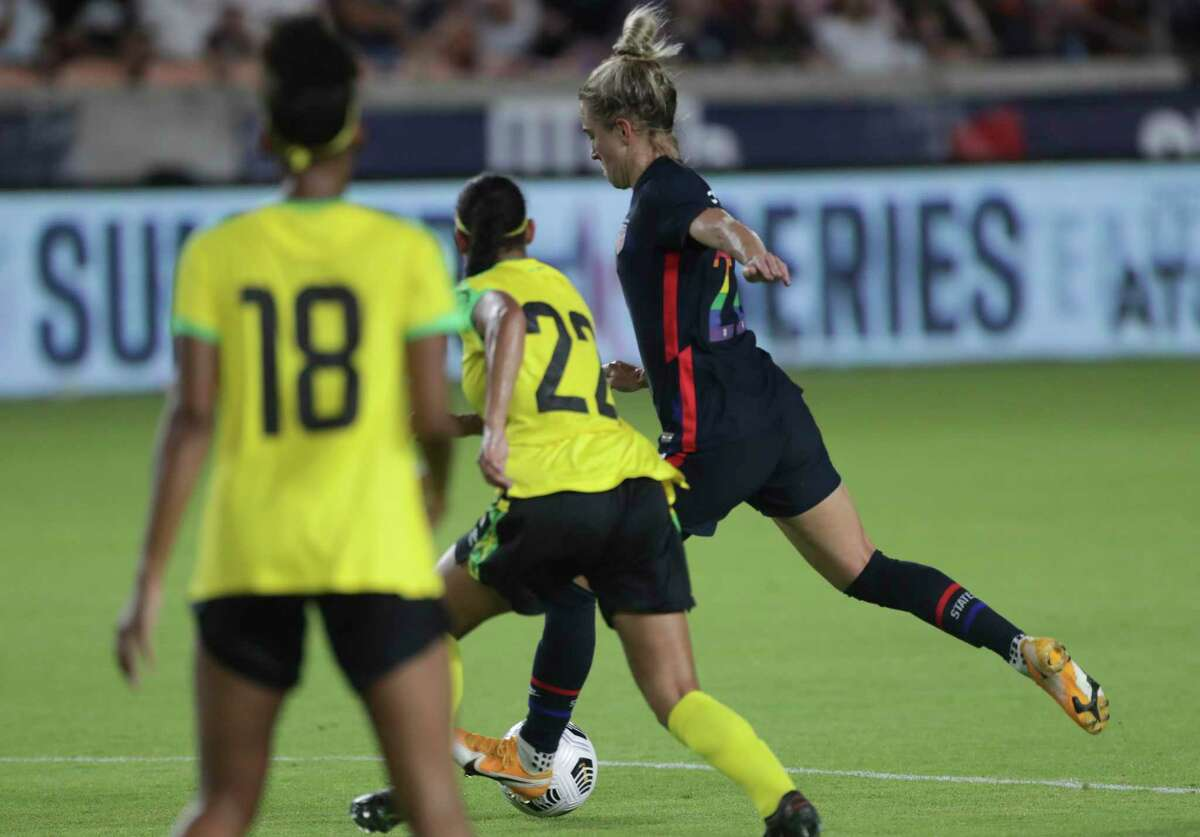 U.S. Women's National Team midfielder Kristie Mewis (22) takes a shot at the goal during the second half of 2021 Summer Series match against the Jamaica Women's National Football Team Sunday, June 13, 2021, at BBVA Stadium in Houston. The U.S. Women's National Team defeated the against the Jamaica Women's National Football Team 4-0.