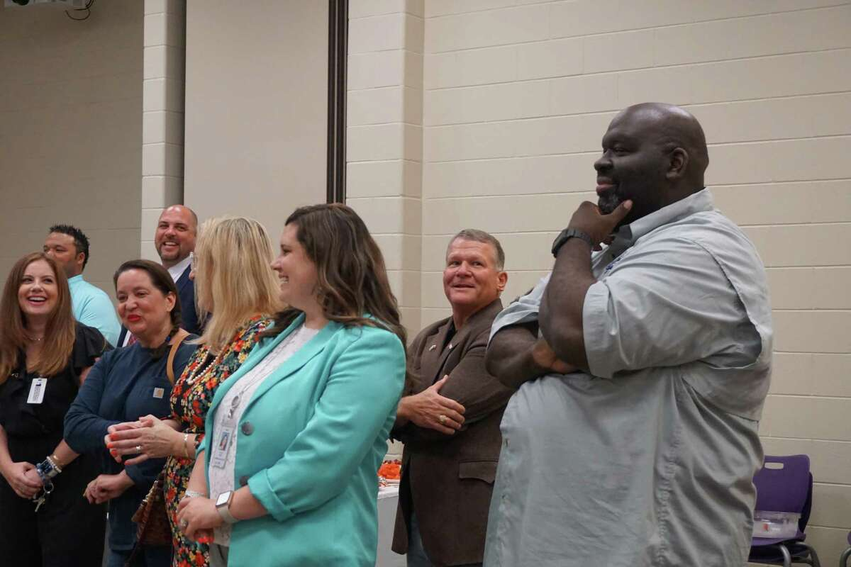 The Fulshear-Katy Area Chamber of Commerce hosts a reception for Lamar Consolidated ISD's new superintendent, Roosevelt Nivens, right, on Wednesday, June 23, at Fulshear High School in Fulshear.