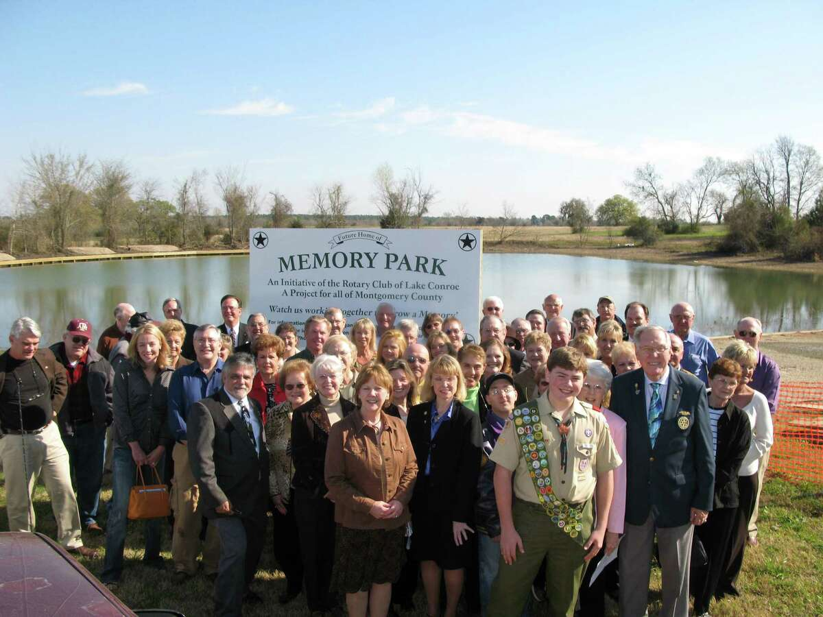 A group picture the day of the opening of The Rotary Club of Lake Conroe's Memory Park on June 28, 2008.