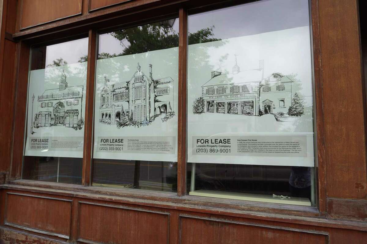 The first wallpaper designed to spruce up empty store fronts in the village area has been placed on the most recently vacated store, the former New Balance store at 28 Main Street. Picture was taken on June 25, 2021.