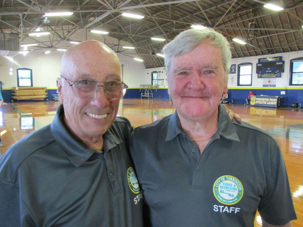 Bill Nataro, left, and Matt Shanahan are two of the dedicated volunteers that bring the Torrington Summer Basketball League back to life this summer after a missing COVID year.