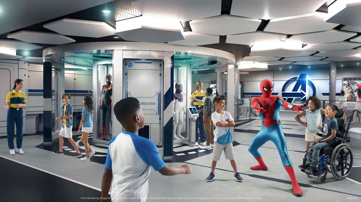 A render of Marvel Super Hero Academy aboard the Disney Wish cruise ship.