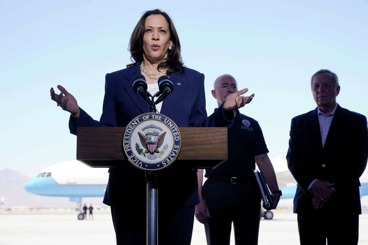 Vice President Kamala Harris talks to the media, Friday, June 25, 2021, after her tour of the U.S. Customs and Border Protection Central Processing Center in El Paso, Texas. Harris visited the U.S. southern border as part of her role leading the Biden administration's response to a steep increase in migration. (AP Photo/Jacquelyn Martin)