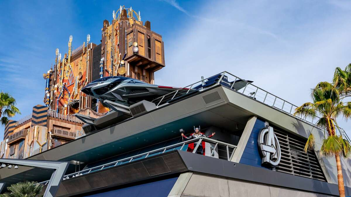 Thor atop the Avengers Headquarters that will house the Quinjet E-ticket ride.