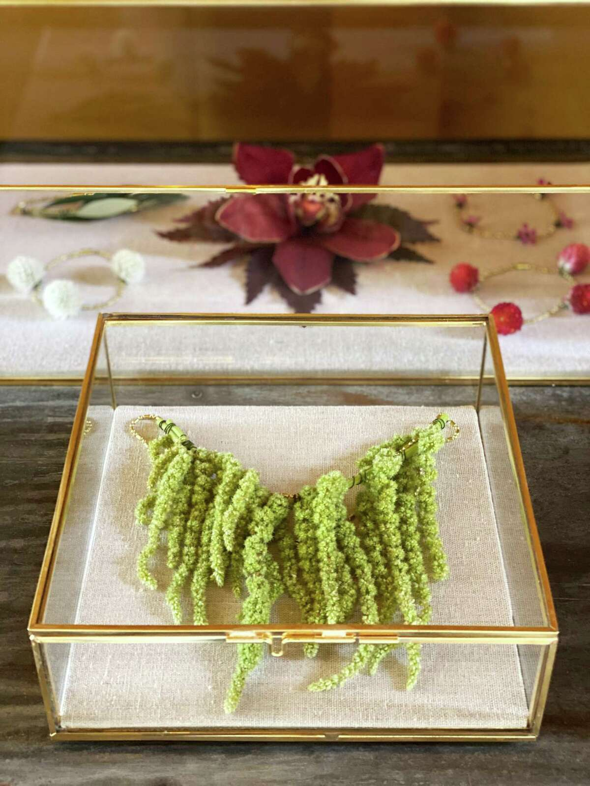 Matthew Tsang collaborated with Commodore Perry Resort for its opening when he created floral wearables, rings, necklaces and boutonnieres.