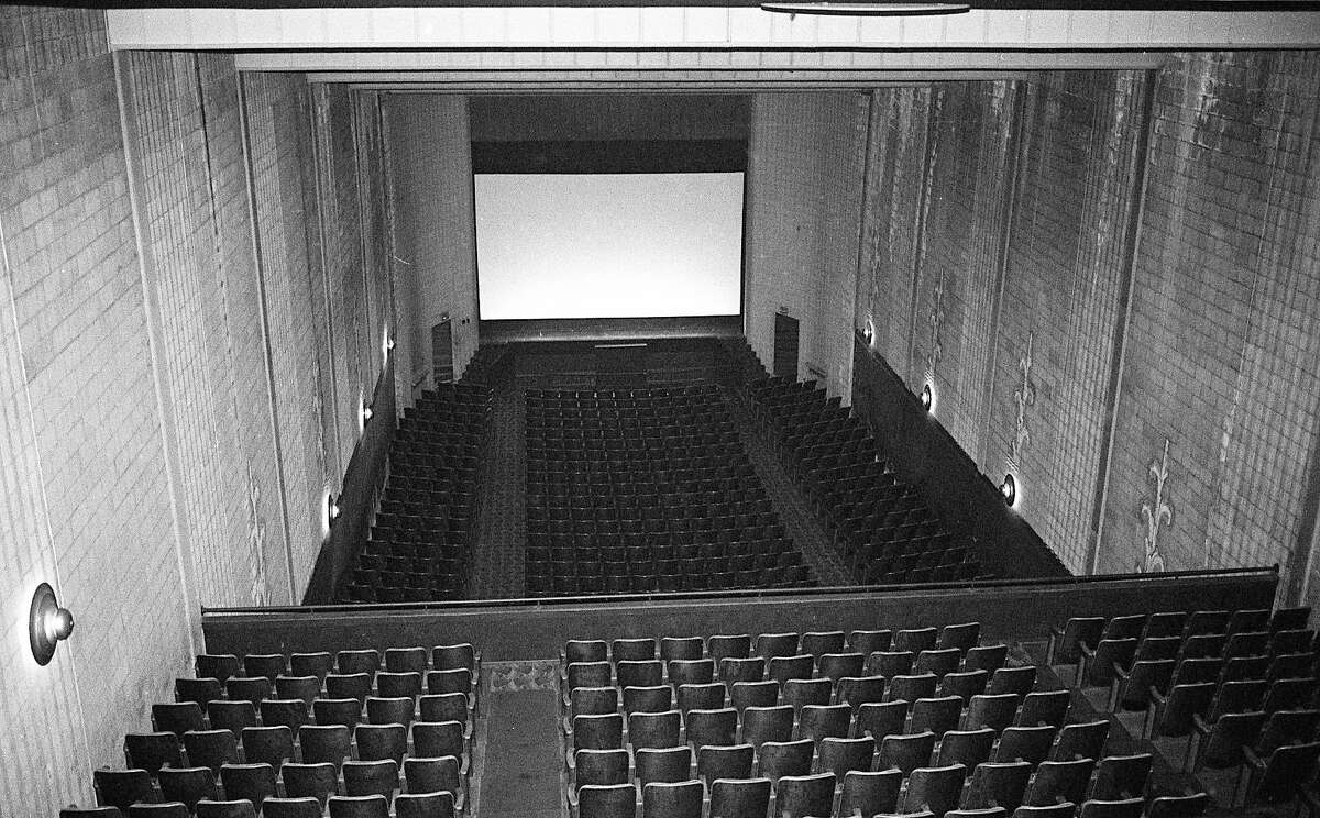 This photo shows a view inside the Vogue Theatre looking down from the projection booth in 1984. (Manistee County Historical Museum photo)