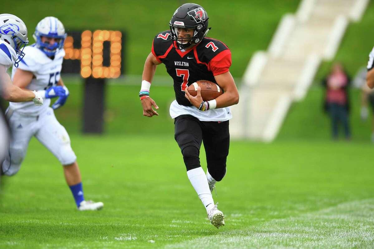 Wesleyan quarterback Ashton Scott.