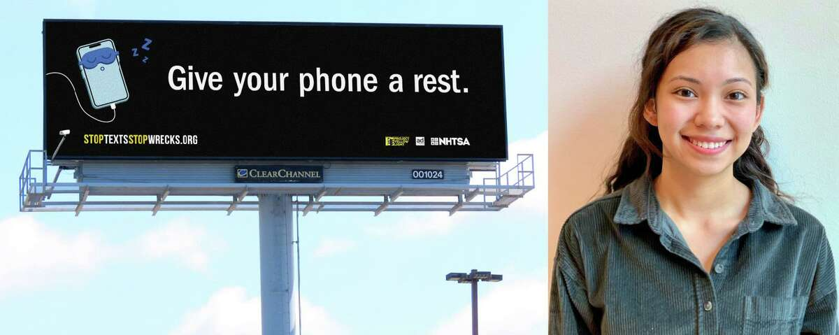 Area college student Diana Gonzalez Mejia is one of the winners of the Project Yellow Light contest. Her winning billboard design advises drivers to keep their eyes on the road, and give their phones a rest.