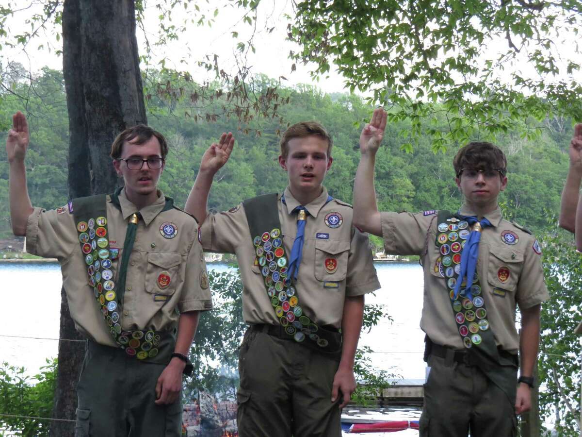 From left, Torrington Troop 3 Boy Scouts Austin McQuilkin, Andrew Davis and Joseph Conroy recently earned their Eagle Scout award.