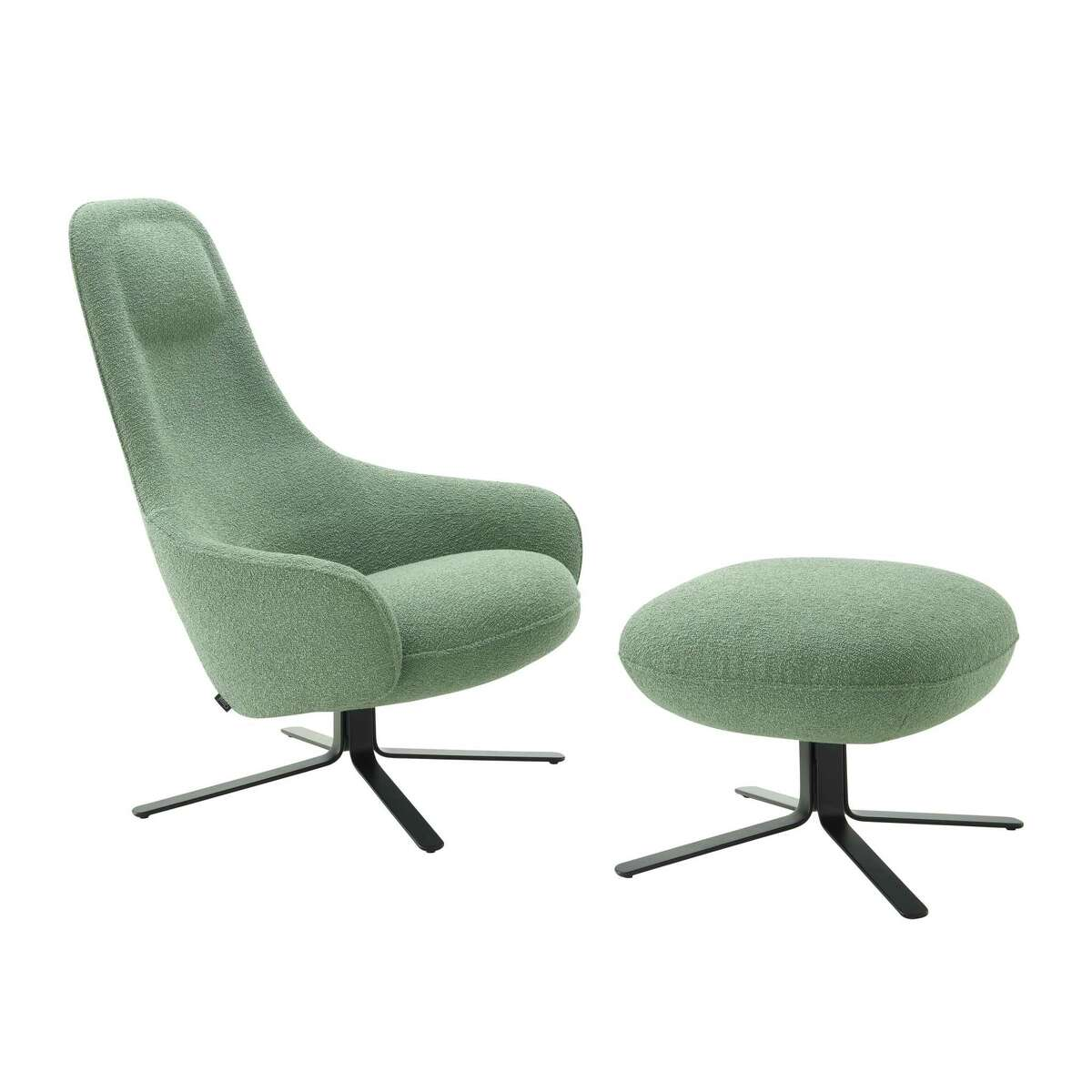Keiji Takeuchi's Moa armchair, $3,600 and up, and ottoman, $1,380.