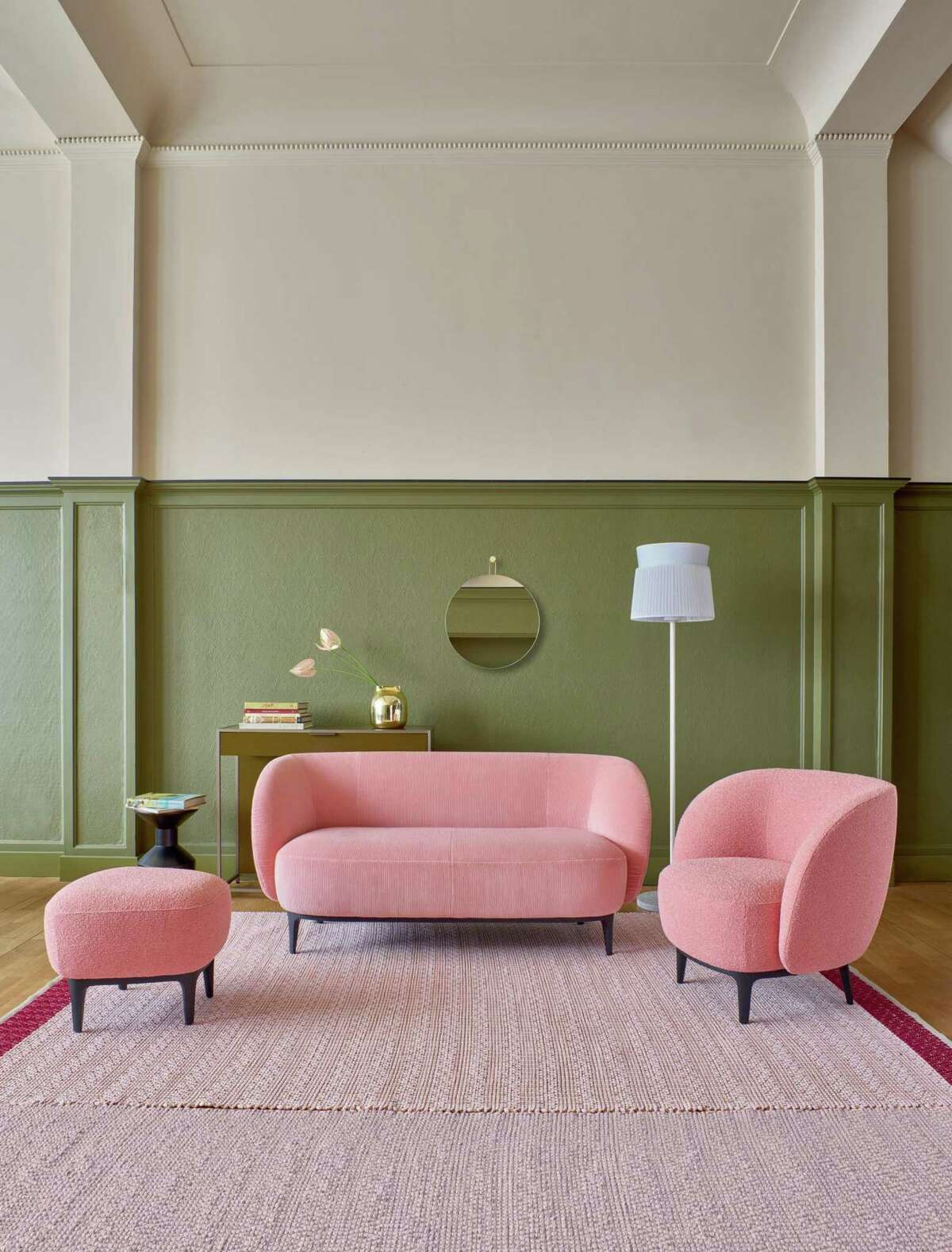 Jean-Philippe Nuel's Soufflot medium Sofa, $4,095; armchair, $2,245 and up; and ottoman, $1,160 and up.