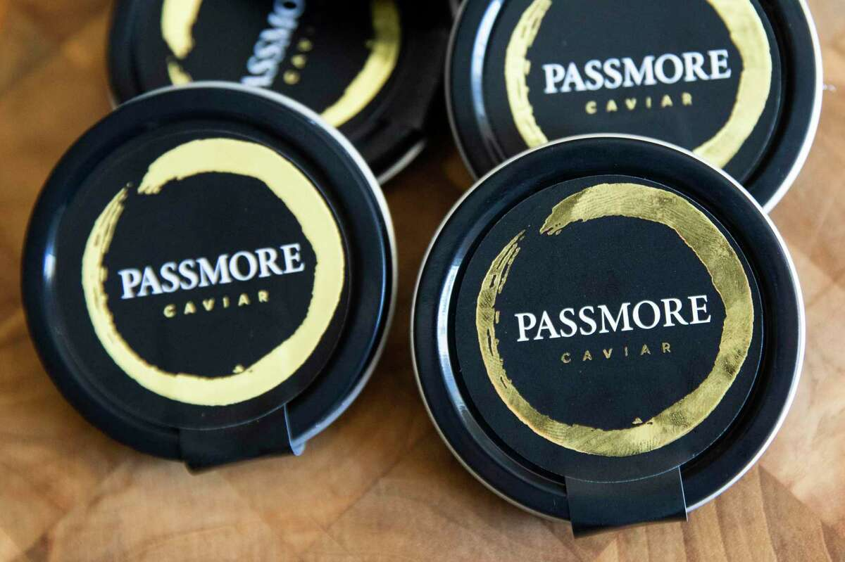 Passmore's caviar tins are seen at Michael Passmore's ranch in Sloughhouse (Sacramento County). While many chefs assumed Passmore's caviar came from the ranch, the business owner now says he stopped making caviar in 2019.