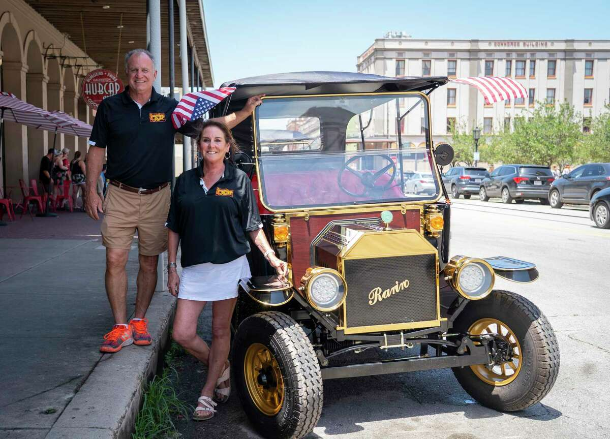 Brett and Veronica Von Blon opened Carriage Haus Rentals on the Strand on Galveston Island. They are offering rentals of the electric golf carts that are replicas of a 1908 Model T. Photographed on Wednesday, June 23, 2021, in Galveston.