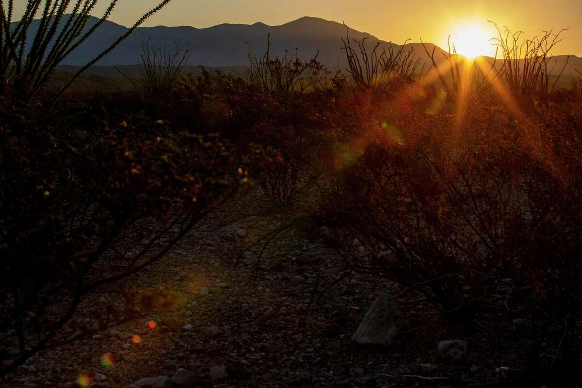 The sun rises over the desert near Candelaria where more migrants are trying to get into the U.S. Migrants can spend days walking through the mountains and desert terrain under the hot sun.