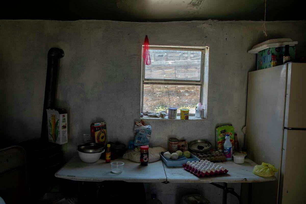 A table with food at the only shelter in Ojinaga for migrants returned to Mexico.