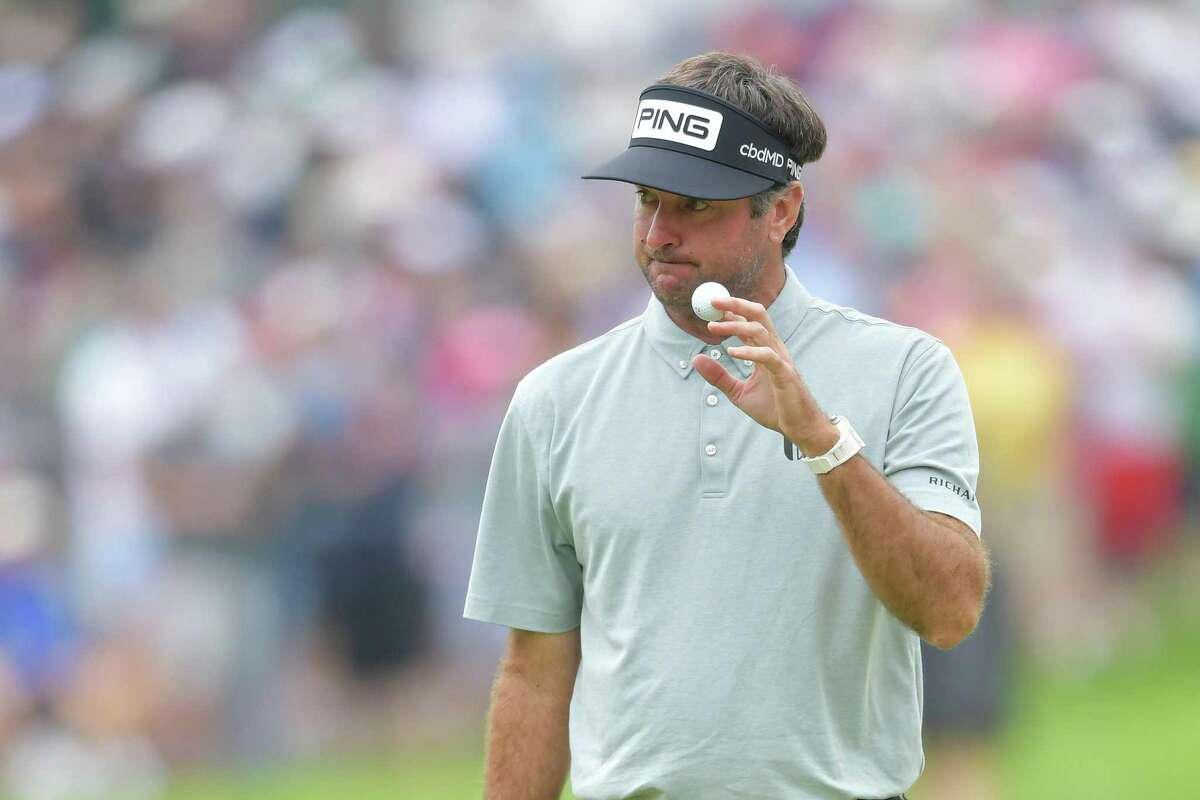 Bubba Watson reacts to his putt on the eighth green during the second round of the Travelers Championship on Friday at TPC River Highlands in Cromwell.