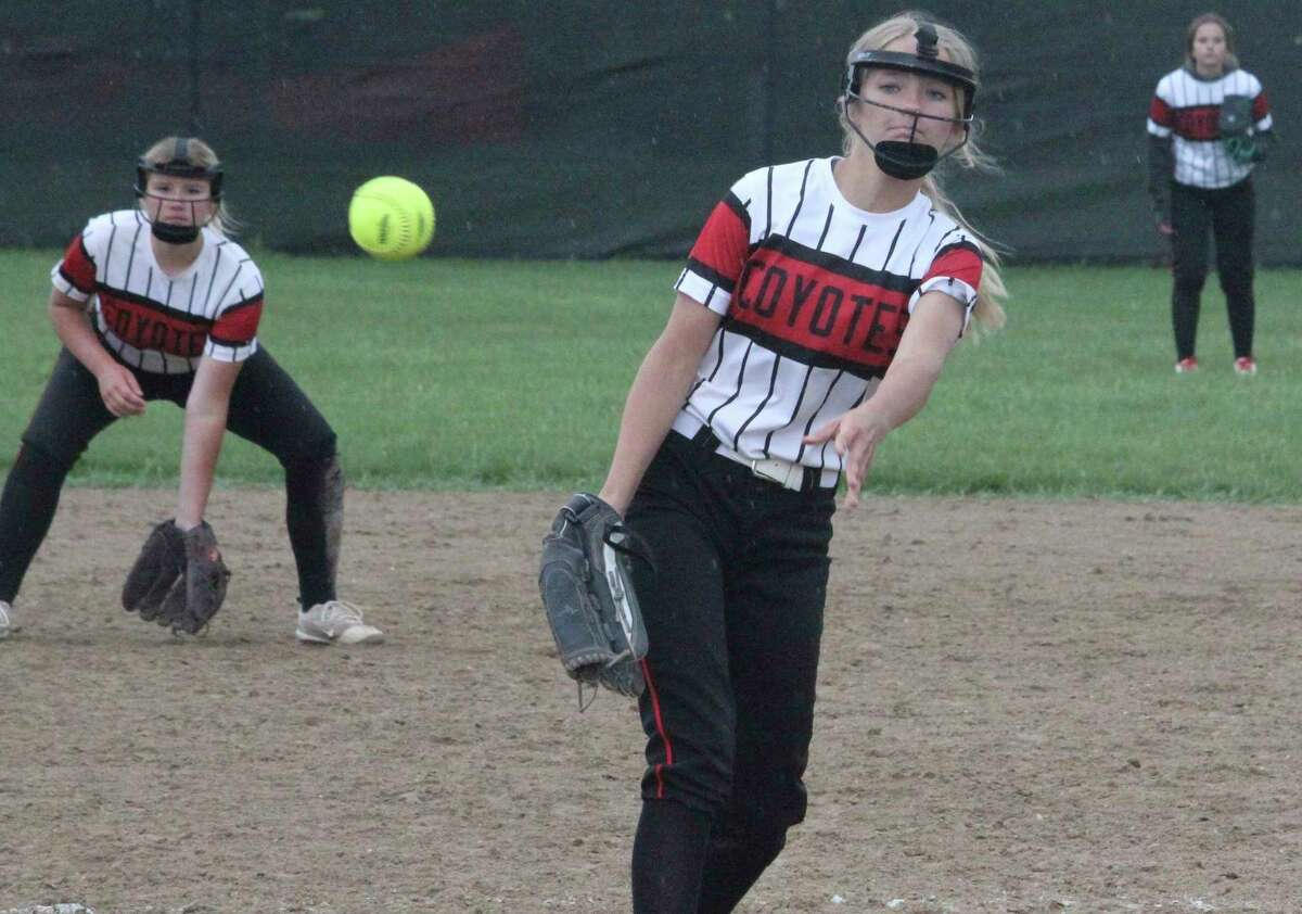 Reed City's Isabell Guy delivers a pitch during the regular season. (Pioneer file photo)