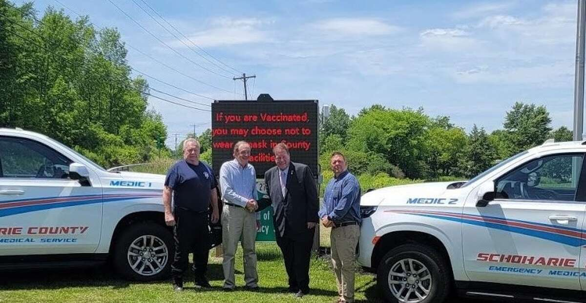 Assemblyman Chris Tague was joined by Director of the Schoharie County Office of Emergency Services Mike Hartzel, Chairman of the Schoharie County Board of Supervisors Bill Federice and Schoharie County EMS Director Edward Brandt in unveiling new paramedic fly cars for the county.