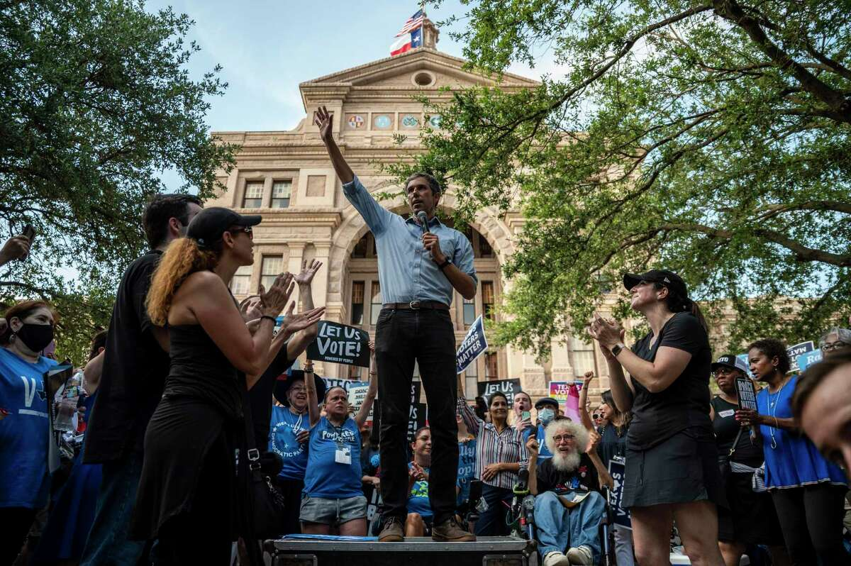 Former U.S. Rep. Beto O'Rourke speaks at a rally at the state Capitol on June 20. The rally was one of many O'Rourke is holding across Texas to fight SB7, a controversial voting bill that was derailed after house Democrats walked out of the session.