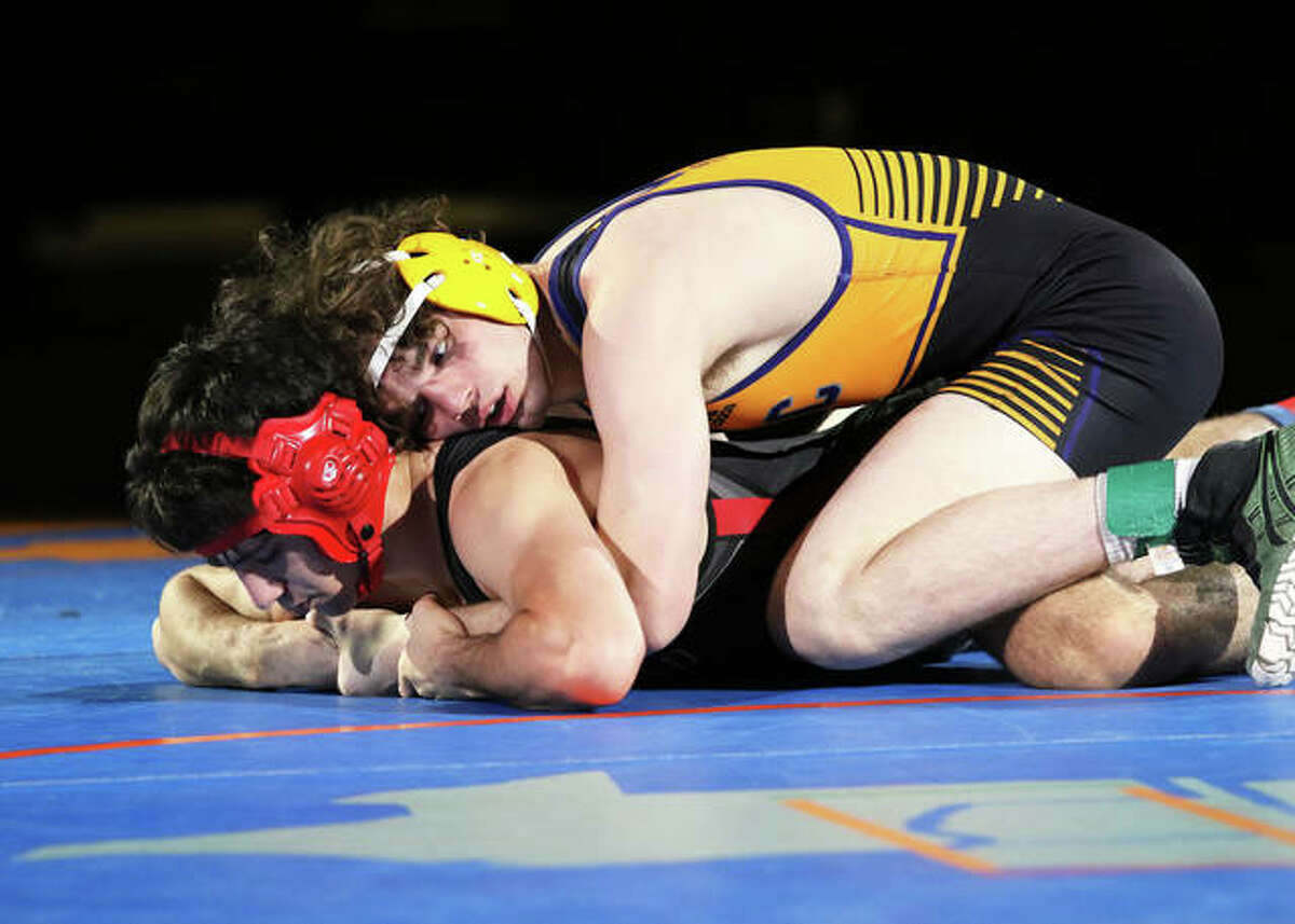 CM senior Vinny Zerban (top) controls his bout with Deerfield's Ben Shvartsman in the 152-pound title match at the IWCOA Class 2A state meet Friday night in Springfield. Zerban won by fall in 48 seconds.