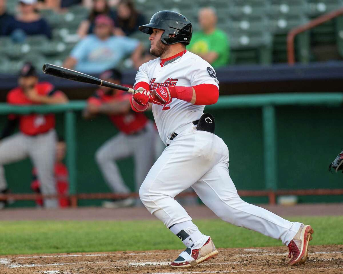 Tri-City ValleyCats first baseman Oscar Campos rips a double against the Washington Wild Things at the Joseph L. Bruno Stadium on the Hudson Valley Community College campus in Troy, NY, on Friday, June 25, 2021 (Jim Franco/Special to the Times Union)