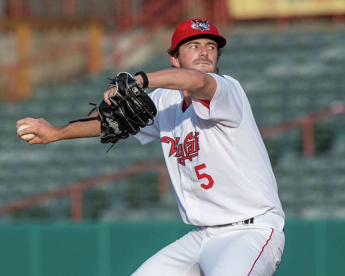 Tri-City ValleyCats starting pitcher Josh Hiatt, shown pitching against the Washington Wild Things on June 25, 2021, said he enjoyed closing games, but is happy starting them too.(Jim Franco/Special to the Times Union)