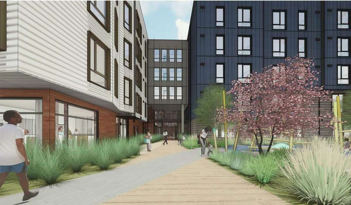 Renderings of the Shirley Chisholm Village project, the district's first affordable housing project for educators.