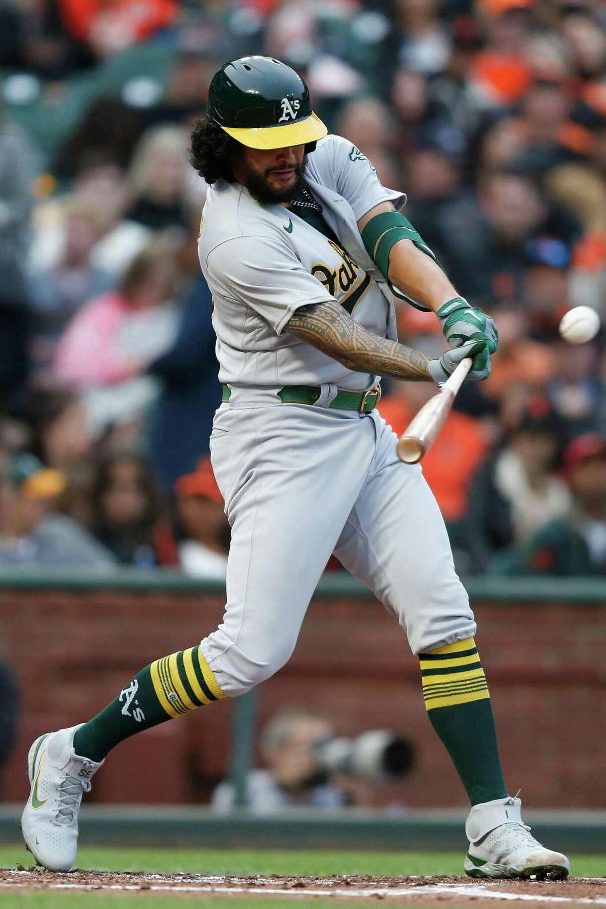 SAN FRANCISCO, CALIFORNIA - JUNE 25: Sean Manaea #55 of the Oakland Athletics hits a double in the top of the third inning against the San Francisco Giants at Oracle Park on June 25, 2021 in San Francisco, California. (Photo by Lachlan Cunningham/Getty Images)