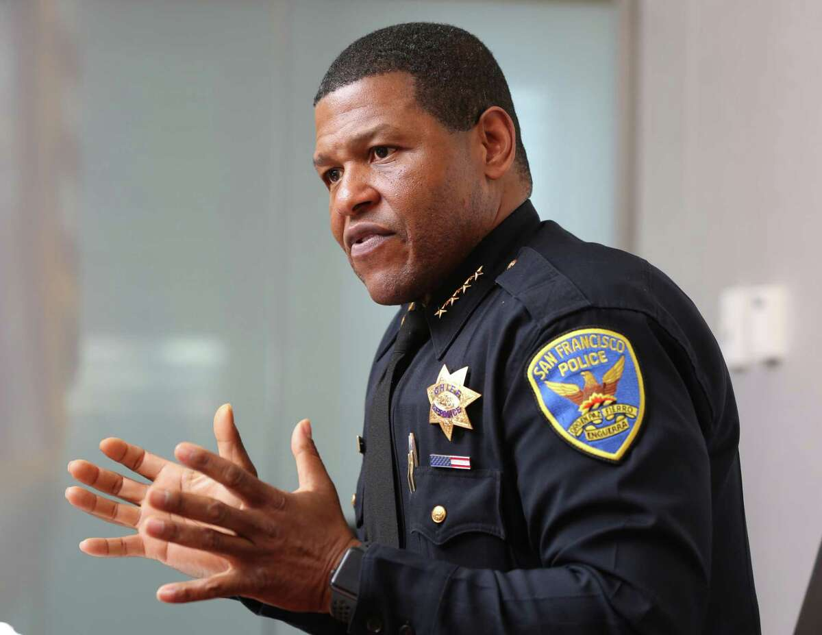 This file photograph shows San Francisco Police Chief Bill Scott talks about various issues at the police station on Third Street on Tuesday, March 27, 2018, in San Francisco, Calif.
