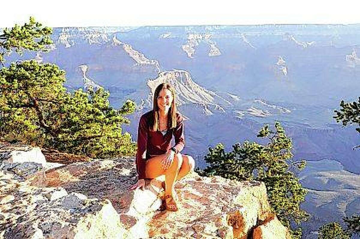 """Alissa Hembrough Nickerson is seen during a visit to the Grand Canyon. She was featured on a """"Today"""" segment about hiking and the increased number of visitors to America's national parks since pandemic restrictions were lifted."""