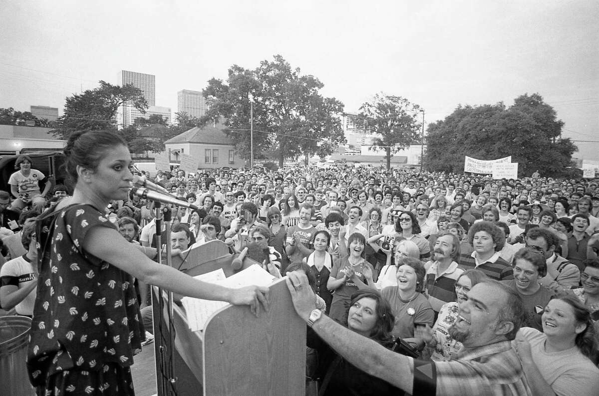 06/16/1977 - Actress Liz Torres speaks at rally gathered to protest singer Anita Bryant's outspoken stand against gay rights. Bryant was in Houston to perform at the State Bar of Texas dinner at the Hyatt Regency. The rally, sponsored by several gay and womens rights groups, began about 8 pm in the parking lot of The Depository, a bar at 401 McGowen and Bagby.