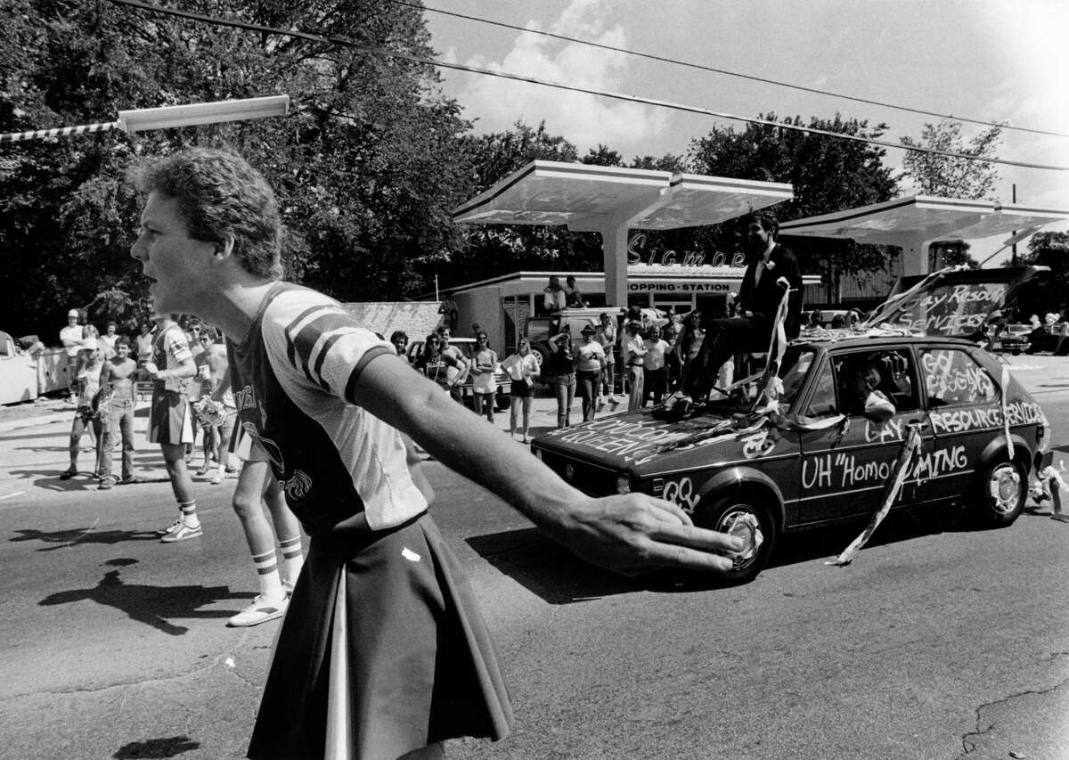 The Gay Pride Week Parade proceeds along Westheimer in July 1979, three years after Houston's first, attended by former Mayor Annise Parker.
