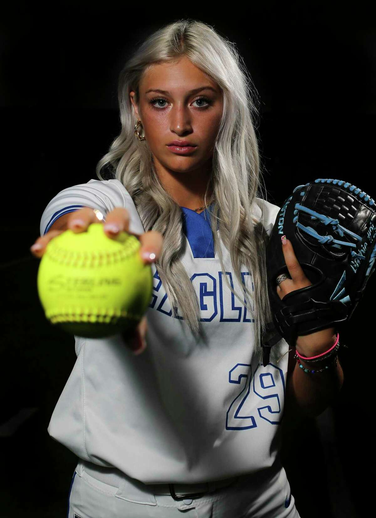 Barbers Hill senior Sophia Simpson poses for a portrait as she is the Houston Chronicle All-Greater Houston Softball Pitcher of the Year Wednesday, June 16, 2021, at Barbers Hill High School in Mont Belvieu. Simpson is a University of Texas at Austin signee and was the MVP of the state championship game as Barbers Hill won its first-ever title.