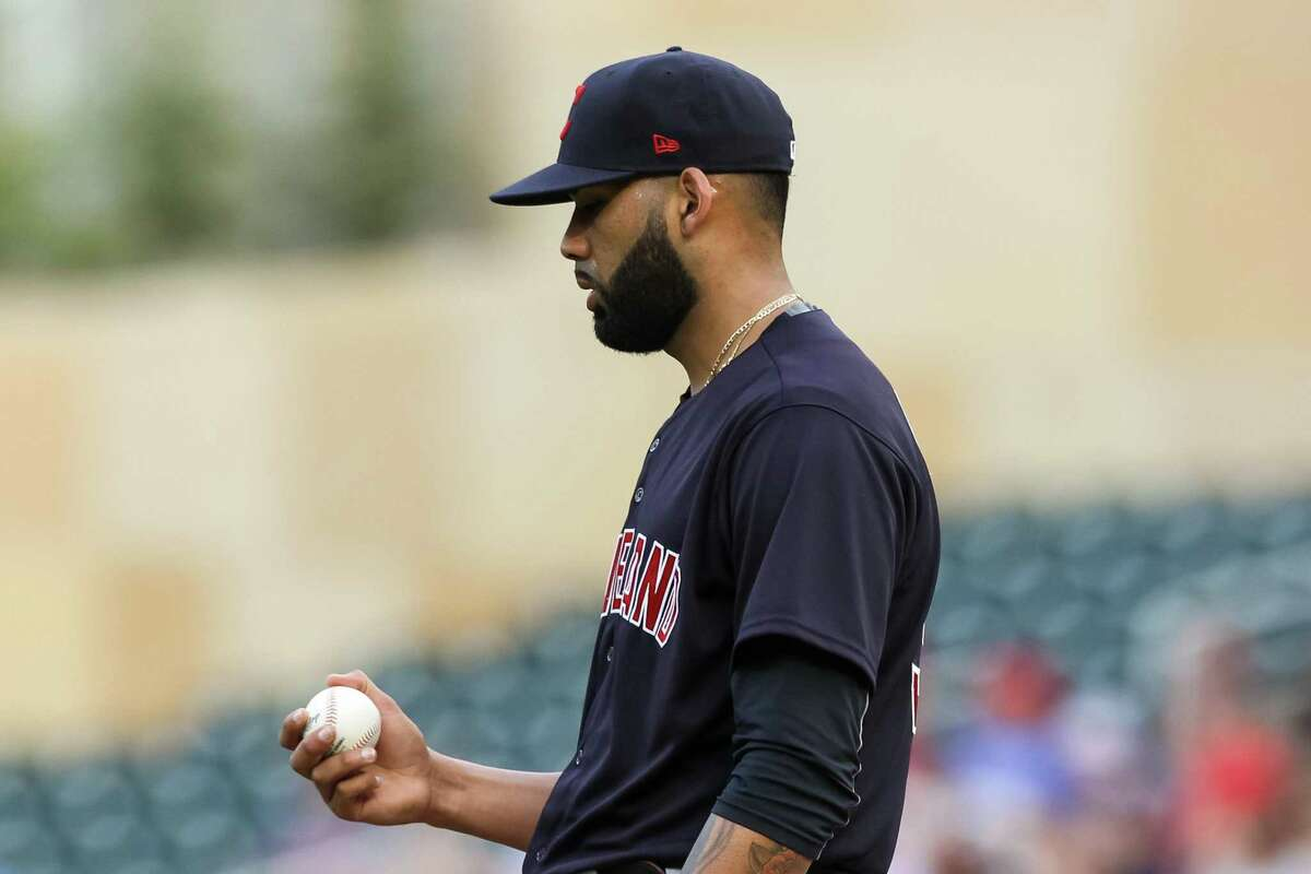 MINNEAPOLIS, MN - JUNE 24: J.C. Mejia #36 of the Cleveland Indians looks on after Luis Arraez of the Minnesota Twins scored a run on a wild pitch in the first inning at Target Field on June 24, 2021 in Minneapolis, Minnesota. (Photo by David Berding/Getty Images)