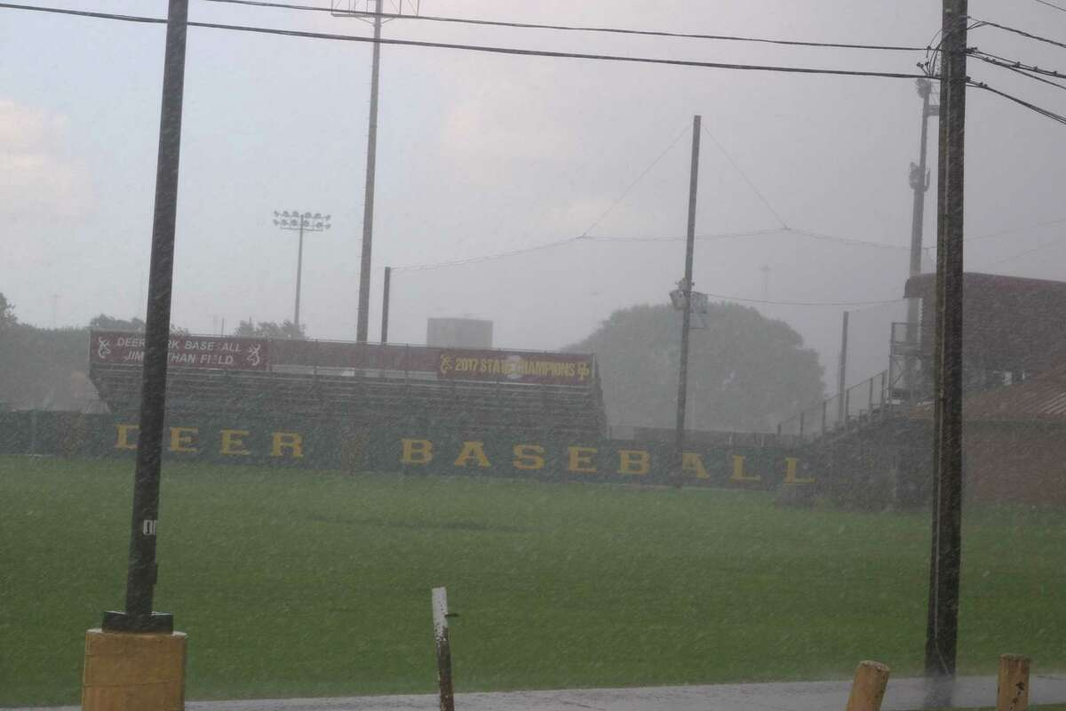 The view of Jim Kethan Field during Tuesday night's deluge that arrived less than an hour before the all-star game was scheduled to start. They'll try again Tuesday night.