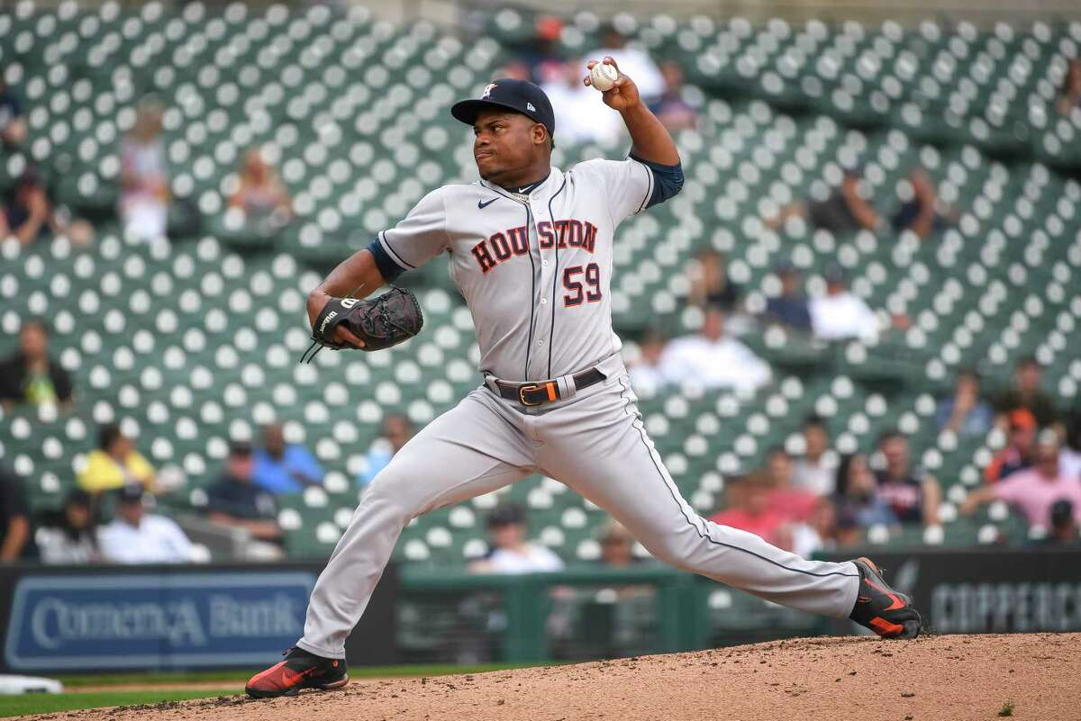 DETROIT, MICHIGAN - JUNE 26: Framber Valdez #59 of the Houston Astros delivers a pitch against the Detroit Tigers during the bottom of the third inning in game one of a doubleheader at Comerica Park on June 26, 2021 in Detroit, Michigan.