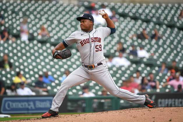 DETROIT, MICHIGAN - JUNE 26: Framber Valdez #59 of the Houston Astros delivers a pitch against the Detroit Tigers during the bottom of the third inning in game one of a doubleheader at Comerica Park on June 26, 2021 in Detroit, Michigan. Photo: Nic Antaya, Getty Images / 2021 Getty Images
