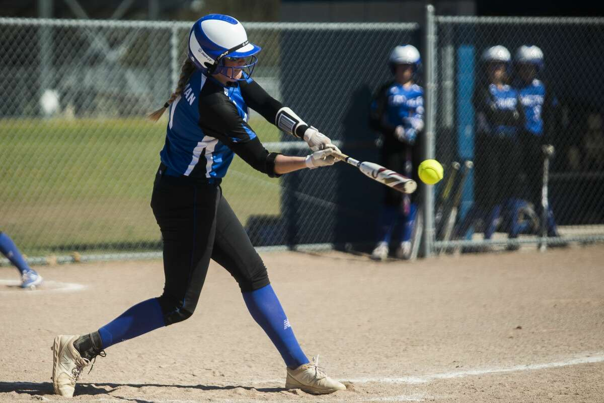 Coleman's Katelyn Pnacek makes contact during an April 30, 2021 game against Mount Pleasant Sacred Heart.