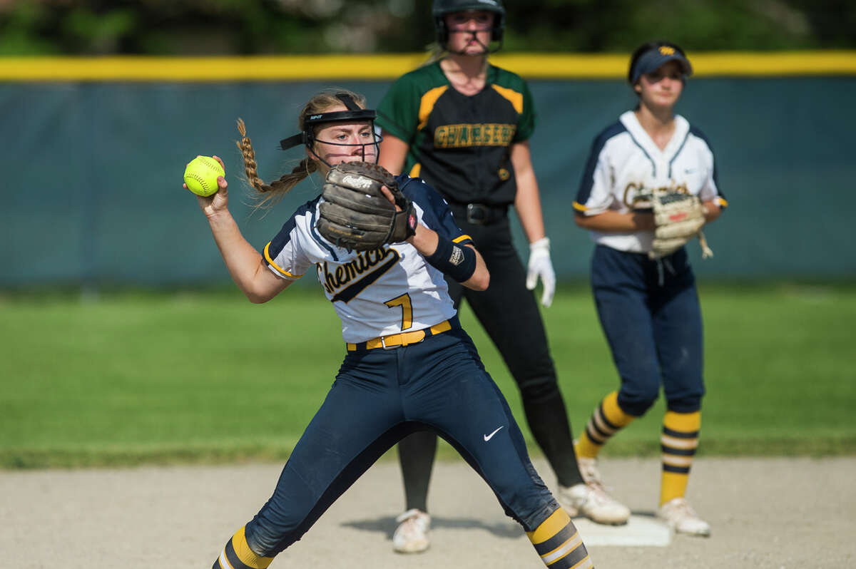 Midland High's Gabby Schloop throws to first during a May 18, 2021 game against Dow High.
