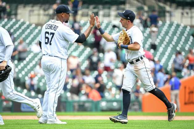 DETROIT, MICHIGAN - JUNE 26: Jose Cisnero #67 of the Detroit Tigers celebrates with Zack Short #59 of the Detroit Tigers after defeating the Houston Astros in game one of a doubleheader at Comerica Park on June 26, 2021 in Detroit, Michigan. Photo: Nic Antaya, Getty Images / 2021 Getty Images