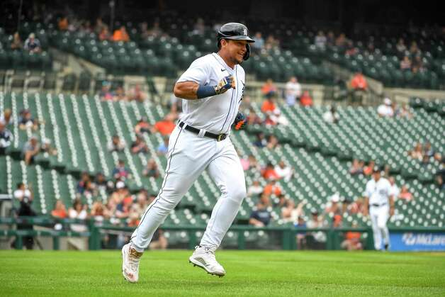 DETROIT, MICHIGAN - JUNE 26: Miguel Cabrera #24 of the Detroit Tigers runs to first base against the Houston Astros during the bottom of the sixth inning in game one of a doubleheader at Comerica Park on June 26, 2021 in Detroit, Michigan. Photo: Nic Antaya, Getty Images / 2021 Getty Images