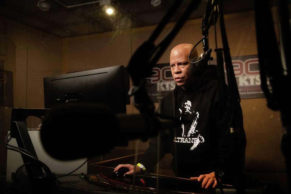 KTSU 90.9 FM The Jazz Club Radio Show host Kyle Turner at the radio station at TSU, Wednesday, April 21, 2021, in Houston.