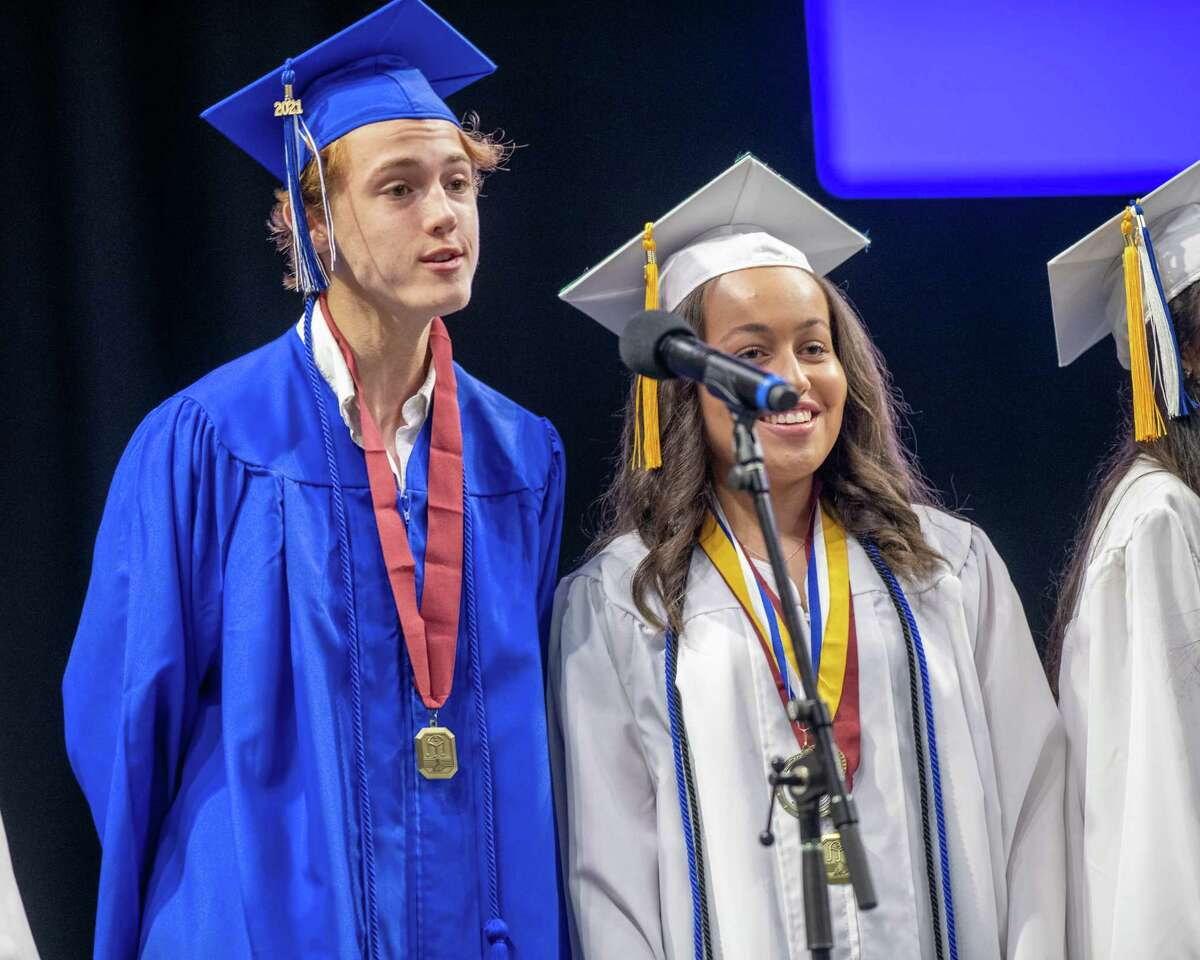 """Members of the Shaker Select sing """"Vienna"""" during the 2021 graduation ceremony at the Times Union Center in Albany, NY, on Saturday, June 26, 2021 (Jim Franco/Special to the Times Union)"""